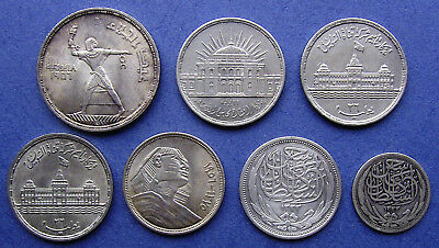 EGYPT - BRITISH and REPUBLIC - LOT OF SEVEN SILVER COINS - 1916 / 17 - 1956 / 57
