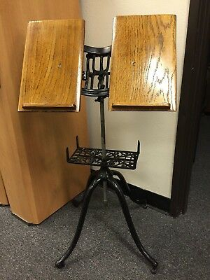 Antique Cast Iron & Oak Adjustable Bible Dictionary Book Music Stand Holder