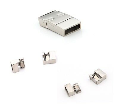 Polished stainless steel interlock magnetic clasp Jewellery DIY 12mm x 4mm