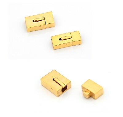 Wide gold finish stainless steel interlock clasp release button Jewellery DIY