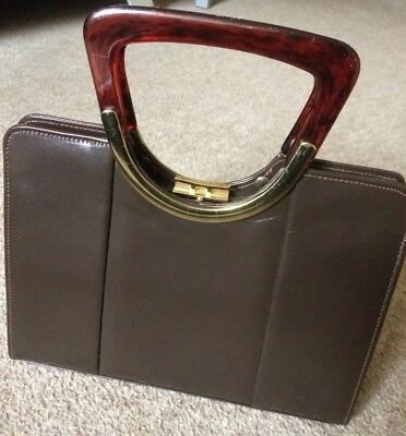 Vintage Brown Ackery Of London Bag With Lucite Handles Kelly