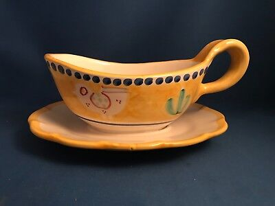 Italian Pottery VIETRI CAMPANA Chicken Yellow Gravy Boat w/ Attached Underplate