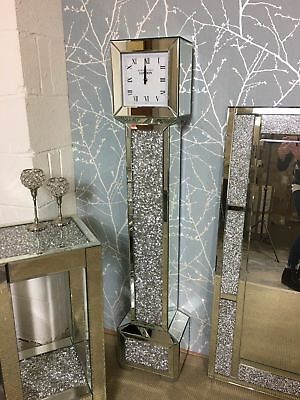 Mirrored Longcase Grandfather Clock Crushed Diamante Jewel Grandmother Clock New