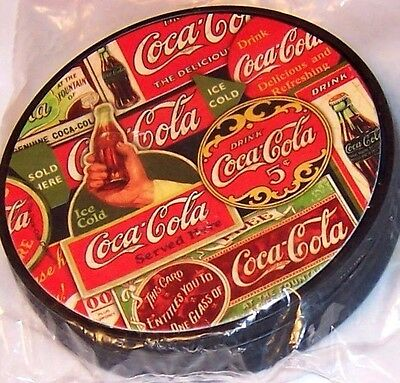 "NIP Coca Cola Coke Set of 4 Plastic Coasters Approximately 4"" dia Coaster Set"