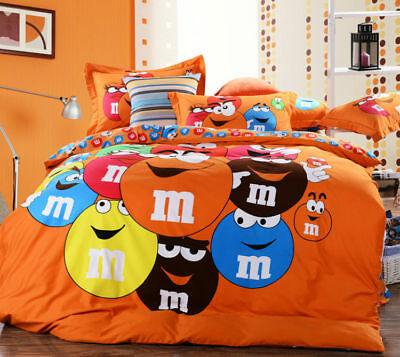 M & M Cartoon QUEEN SIZE ORANGE Color BED SHEET 4 PCS COTTON Bedding SET
