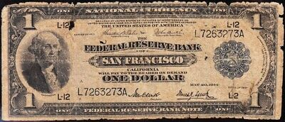 "Bargain Low Grade 1918 $1 San Francisco ""GREEN EAGLE"" FRBN! FREE SHIP! L7263273A"