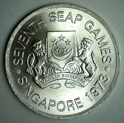 1973 Singapore 5 Dollar UNC Silver World Coin Crown Size #R