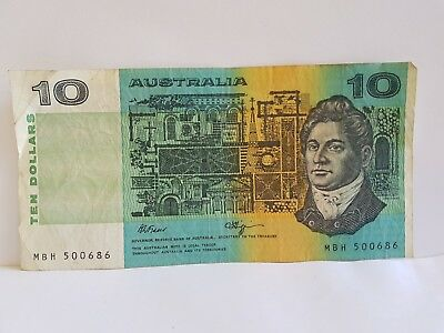 Ten Dollar $10 Australian paper note Fraser Higgins MBH 500686