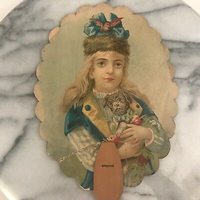 Antique Advertising Fan Victorian Girl with Dog Goldsberry Bros Boots Shoes