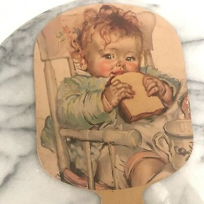 Vintage Paper Fan Lunch Time with Redhead Baby by Maud Tousey Fangel