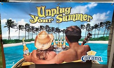 Corona Beer Unplug Your Summer Vinyl Outdoor Sign 3 x 5