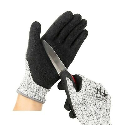 Cut Resistant Level 5 Work Gloves, Textured Latex Coated Nylon Safety Pro... New