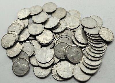 Lot of 75 Canadian Circulated 80% Silver Ten Cent Coins Canada Dimes (#1058)