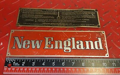 Two Vintage Metal Tags off of Old New England Fire Truck (use for rat rod)