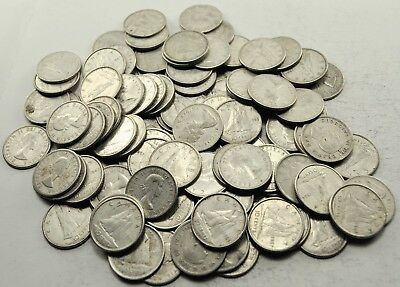Lot 100 Canadian Circulated 80% Silver Ten Cent Coins Canada Dimes (#1066)