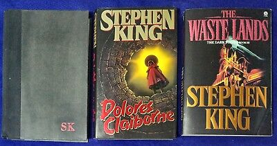 Stephen King First Edition Lot of 3 Gerald's Game Dolores Claiborne Waste Lands