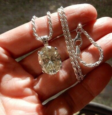 "STUNNING 11.05 CT Canary White Oval MOISSANITE Pendant w/18"" Italian Silver Rope"
