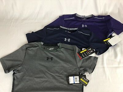 Under Armour UA Boys' HeatGear Sonic Fitted Compression Shirt $20 MSRP 1236087