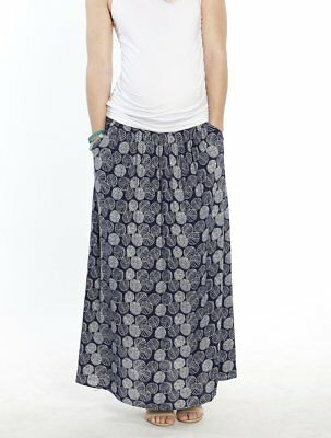 Maxi Skirt | Maternity Skirt | Angel Maternity Navy Leaf Print Long Blue XL 16