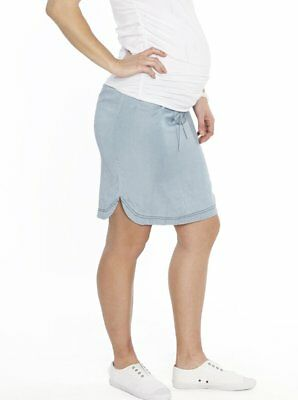 Maternity Clothes Skirt | Angel Maternity Short Skirt Light Denim Blue S L XL