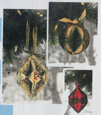 PATTERN - Fold N Stitch Holiday Ornaments - easy PATTERN - Poorhouse Designs