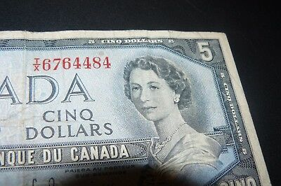 1954 $5.00   Bank of Canada Five Dollars TX6764484