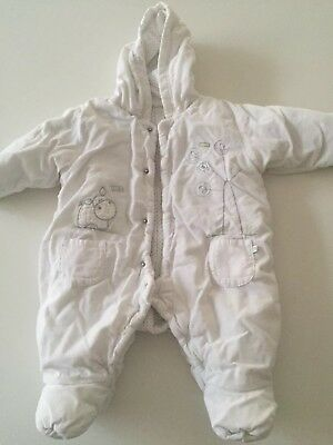 cd3f6c7c4 MARKS AND SPENCER Snow Suit monkey 0-3 newborn boys coat fluffy ...