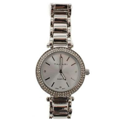 Tahari Womens Silver Pave Round Fashion Wristwatch O/S BHFO 0860