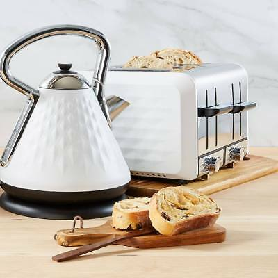 Retro Pyramid Kettle 1.7L or Toaster 4 Slice Set Cordless Automatic Combo White
