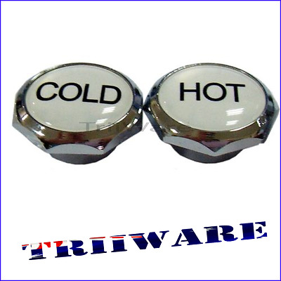 2pc 5mm Chrome Hot Cold Tap Water Kitchen Bathroom Label Buttons Caps Screw Top