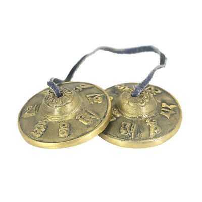 Pack of 2 Brass Cymbal Bell Chimes Mantras Tingsha for Meditation Yoga