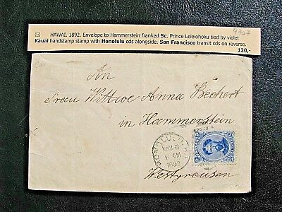 Hawaii 1892 Cover to Hammerstein via San Francisco 5c prince postage
