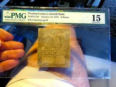 Scarce Pennsylvania Colonial Note October 25, 1775 9 Pence Graded Pmg 15
