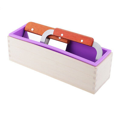 Wooden Silicone Soap Mold With Cutter Tools Soap Maker Loaf Rectangle Mould