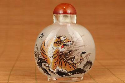 Big Chinese Old Glass Hand Painting Tiger Statue Snuff Bottle