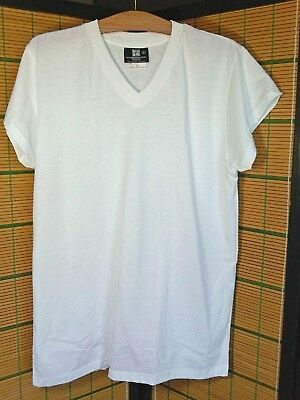 XL True Vintage Blank White T-Shirt V-Neck 50/50 Made in Canada New Old Stock XL