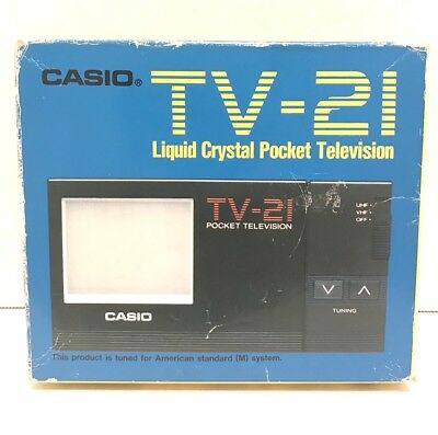 Vintage CASIO TV-21 LIQUID CRYSTAL POCKET TELEVISION FOR PARTS *DAMAGED BATTERY*