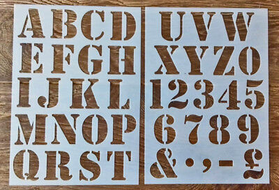 Numbers letter Alphabet plastic stencil large 50mm height vintage shabby chic