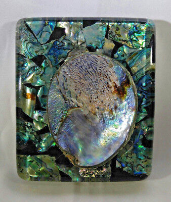 Vintage ABALONE Shell Lucite Spoon Rest Blue Green Turquoise Unique Beautiful