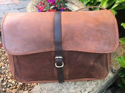 THICK BROWN LEATHER GAME FISHING HUNTING BAG - OLD STOCK By John Shooter