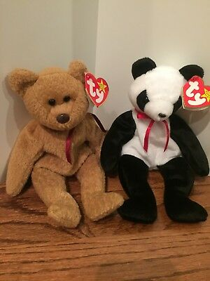 Lot of 2 Retired Ty Beanie Babies Curly (1993) and Fortune (1999) - Mint w/ tags