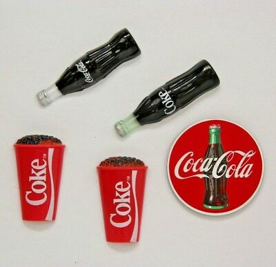 Lot of 5 Coca Cola Collectible Refrigerator Magnets: 2 bottles, 2 cups, 1 Disk