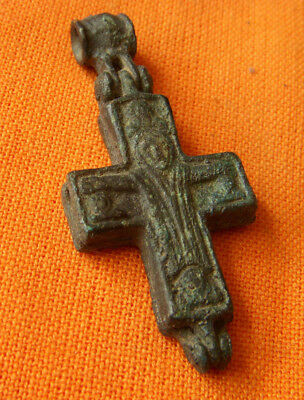A45. Byzantine style bronze reliquary double faced cross.Encolpion