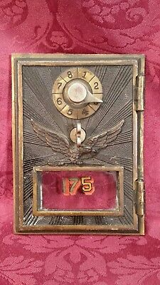 Vintage Early Bronze Eagle w/ Arrows Post Office  P.O. Box Door~ Cool #175
