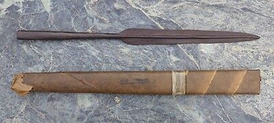 Large Old African Tribal Art Cast Metal Assegai? Engraved Spear Head With Cover
