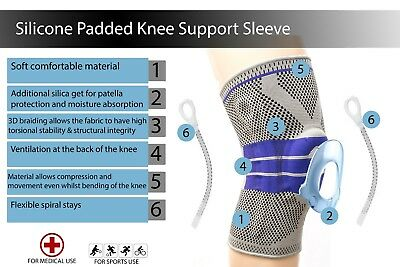 Sports High Compression Silicone Knee Support Padded Sleeve Nylon&Silicon Brace