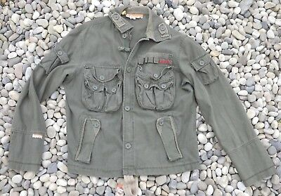 SUPERDRY Army Military Field Heavy Cotton Canvas Jacket Khaki Coat Saporro L