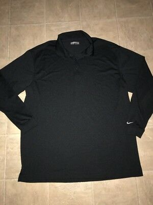 2658e9285 Mens NIKE Golf Fit Dry Long Sleeved Polo Knit XXL 2XL Black 1/4 Button