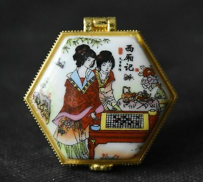 Chinese Porcelain Holder/Box-Hinged Top-Pretty Design-Jewelry/Pills, ETC.  NEW!!