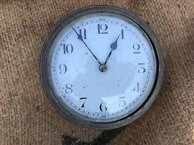 Used Antique Vintage Brass & Enamel Clock Face & Movement Part